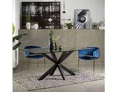 Kave Home Glazen eettafel Argo met zwart onderstel, 200 x 100cm