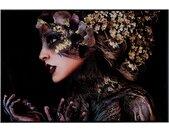 Melani Glass schilderij foto op glas vrouw  met bloemen