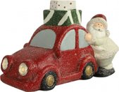 kerstfiguur auto met kerstman led 17,5 cm rood/wit