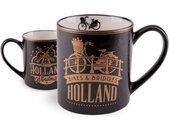 mok Amsterdam Bikes & Bridges 10 cm keramiek goud/zwart