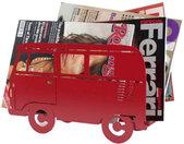 tijdschriftenrek Busje 24 x 40 cm staal rood