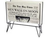 tijdschriftenrek Newspaper 29 x 31 cm staal zwart/wit