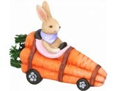 paashaas wortel racewagen 20 cm paars/roze