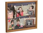 fotolijst met touw 49,4 x 42,4 cm grijs 6 foto's