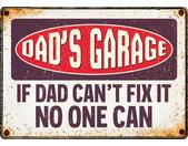 wandbord Dad's Garage 14,8 x 21 cm staal bruin
