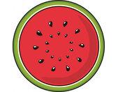 theedoek Watermeloen 55 x 55 cm polyester rood