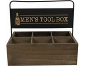biertray 'Men's tool box' 26x18,5x25 cm hout zwart/naturel