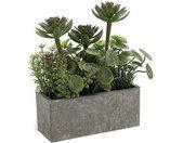 plantenbak Stone 12 x 22 cm keramiek groen/paars