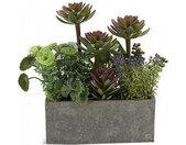 plantenbak Stone 12 x 22 cm keramiek groen/roze