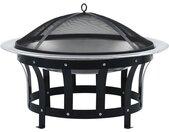vidaXL Tuinvuurplaats met grill 76 cm roestvrij staal