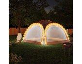 vidaXL Partytent met LED en 4 zijwanden 3,6x3,6x2,3 m grijs en oranje