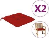 vidaXL Stoelkussens 2 st 50x50x7 cm stof rood