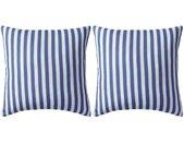 vidaXL Buitenkussens 45x45 cm gestreept marineblauw 2 st