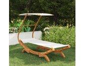 vidaXL Hangmat met luifel 100x198x150 cm massief gebogen hout crème