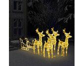 vidaXL Kerstdecoratie rendieren en slee 280x28x55 cm acryl