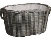 vidaXL Houtmand met handvatten 60x40x28 cm wilgenhout grijs