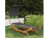 vidaXL Hangmat met luifel 100x216x162 cm gebogen hout antracietkleurig