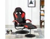 vidaXL Racestoel verstelbaar met voetenbankje kunstleer rood
