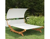 vidaXL Hangmat met luifel 165x210x155 cm massief gebogen hout crème