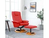 vidaXL Televisiefauteuil met voetenbankje draaibaar kunstleer rood