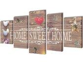 vidaXL Canvas Wall Print Set Home Sweet Home Design 200 x 100 cm