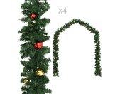 vidaXL Kerstslingers 4 st met kerstballen 270 cm PVC groen