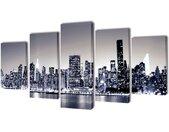 vidaXL Canvasdoeken monochroom New York skyline 100 x 50 cm
