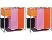 vidaXL 3-delige Wassorteerders 2 st met wasmand