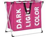 vidaXL Wassorteerder met 3 zakken roze