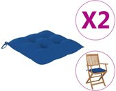 vidaXL Stoelkussens 2 st 40x40x7 cm stof blauw