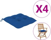 vidaXL Stoelkussens 4 st 40x40x7 cm stof blauw