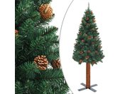 vidaXL Kerstboom met echt hout en dennenappels smal 150 cm PVC groen