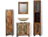 vidaXL Badkamerset met zijkasten en spiegel massief gerecycled hout