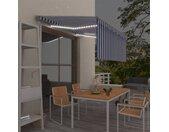 vidaXL Luifel met rolgordijn, LED en windsensor 3,5x2,5 m blauw en wit