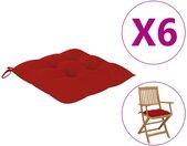 vidaXL Stoelkussens 6 st 40x40x7 cm stof rood