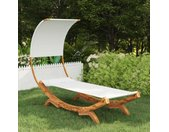 vidaXL Hangmat met luifel 100x216x162 cm massief gebogen hout crème