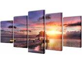 vidaXL Canvasdoeken zandstrand met paviljoen 100 x 50 cm