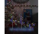 vidaXL Kerstdecoratie rendieren en slee 260x21x87 cm acryl meerkleurig