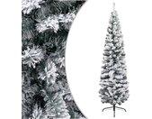 vidaXL Kunstkerstboom met sneeuw smal 240 cm PVC groen
