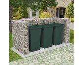 vidaXL Schanskorf drievoudige vuilnisbak ombouw 250x100x120 cm staal