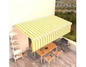 vidaXL Luifel handmatig uittrekbaar met rolgordijn 6x3 m geel en wit