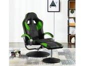 vidaXL Racestoel verstelbaar met voetenbankje kunstleer groen