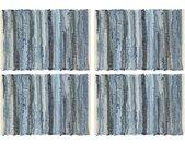 vidaXL Placemats 4 st chindi 30x45 cm katoen denimblauw