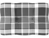 vidaXL Bankkussen pallet ruitpatroon 60x40x12 cm grijs