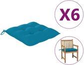 vidaXL Stoelkussens 6 st 50x50x7 cm stof lichtblauw