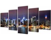 vidaXL Canvasdoeken kleurrijke New York skyline 200 x 100 cm