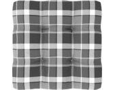 vidaXL Bankkussen pallet ruitpatroon 60x60x12 cm grijs