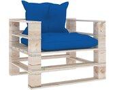 vidaXL Tuinbank met koningsblauwe kussens pallet grenenhout