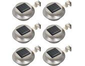 vidaXL LED-solarlampen rond 12 cm wit 6 st