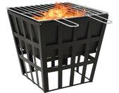 vidaXL Vuurplaats en barbecue 2-in-1 34x34x48 cm staal